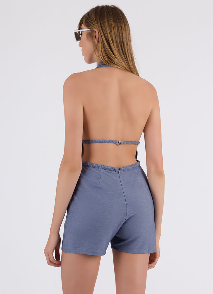 Ready For Vacay Braided Halter Romper BLUE