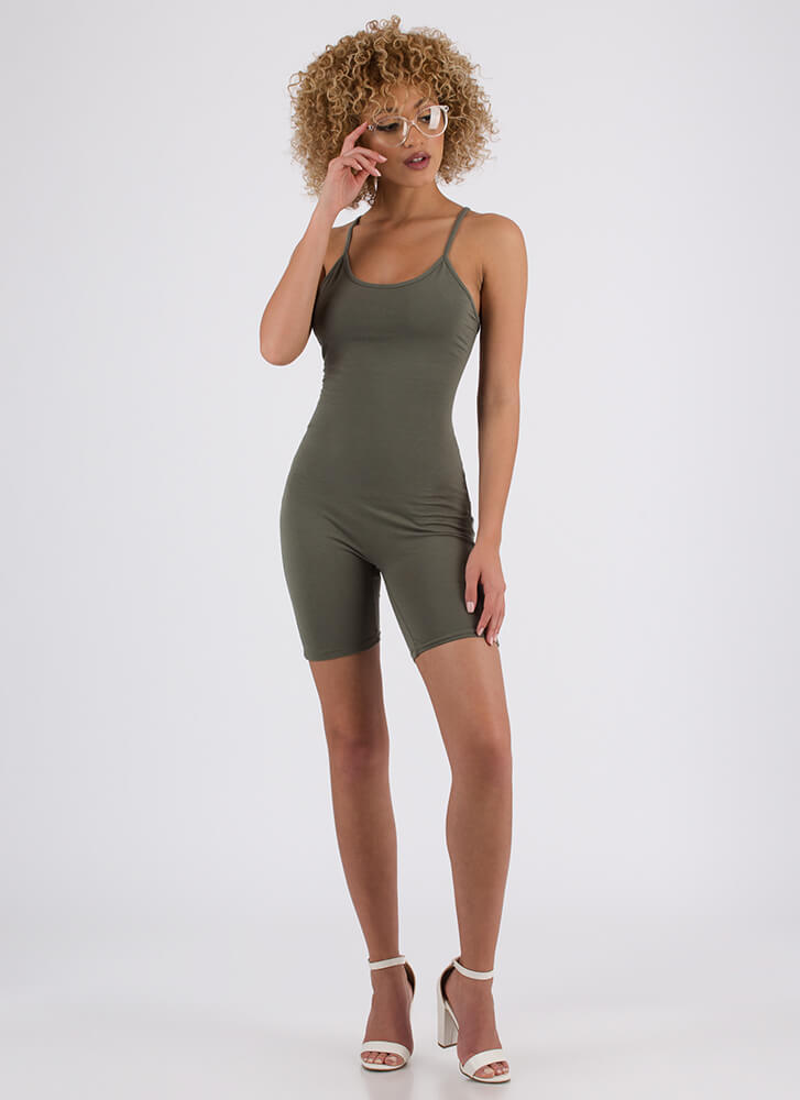 Do Me A Solid Lace-Back Romper OLIVE