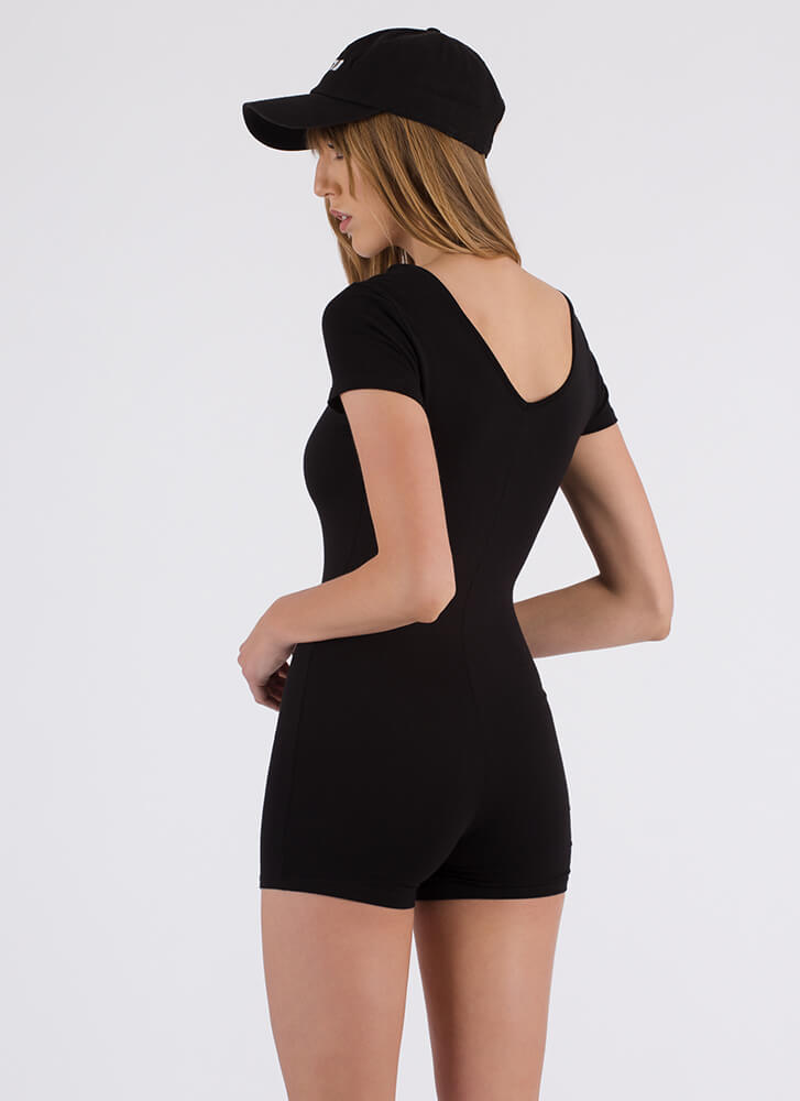 How To Stay Strappy Leotard Romper BLACK