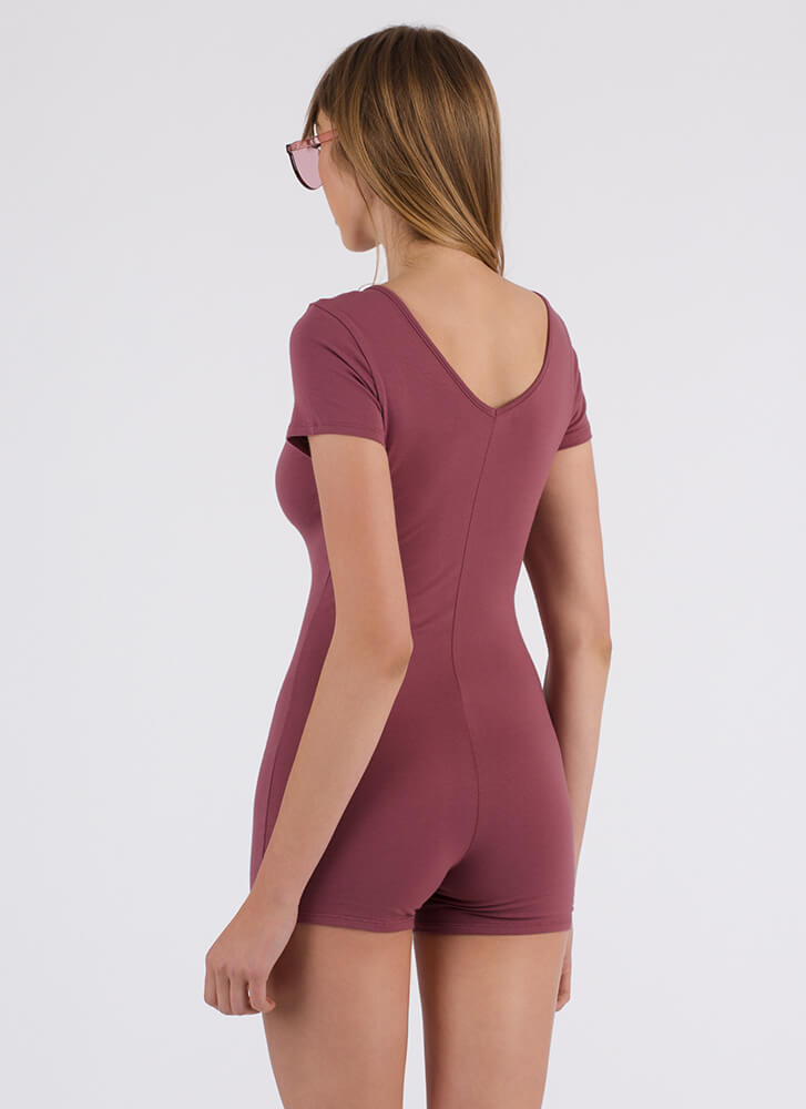 How To Stay Strappy Leotard Romper MAUVE