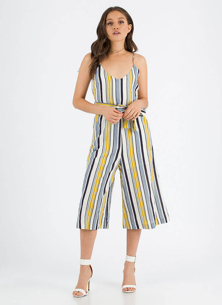 Set On Stripes Cropped Palazzo Jumpsuit YELLOW