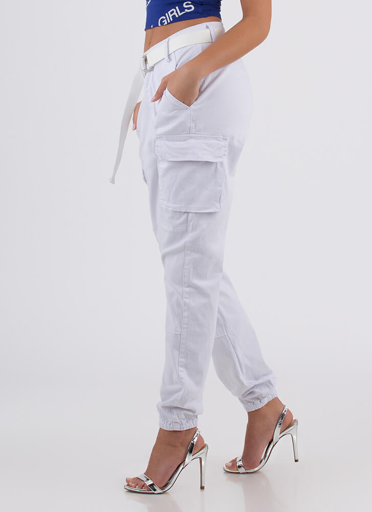 Keep Your Cool Belted Cargo Joggers WHITE
