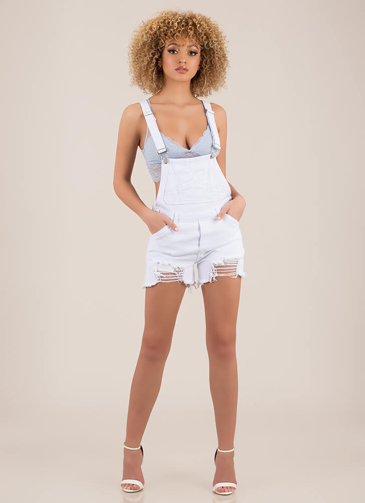 Throwback Distressed Denim Shortalls WHITE