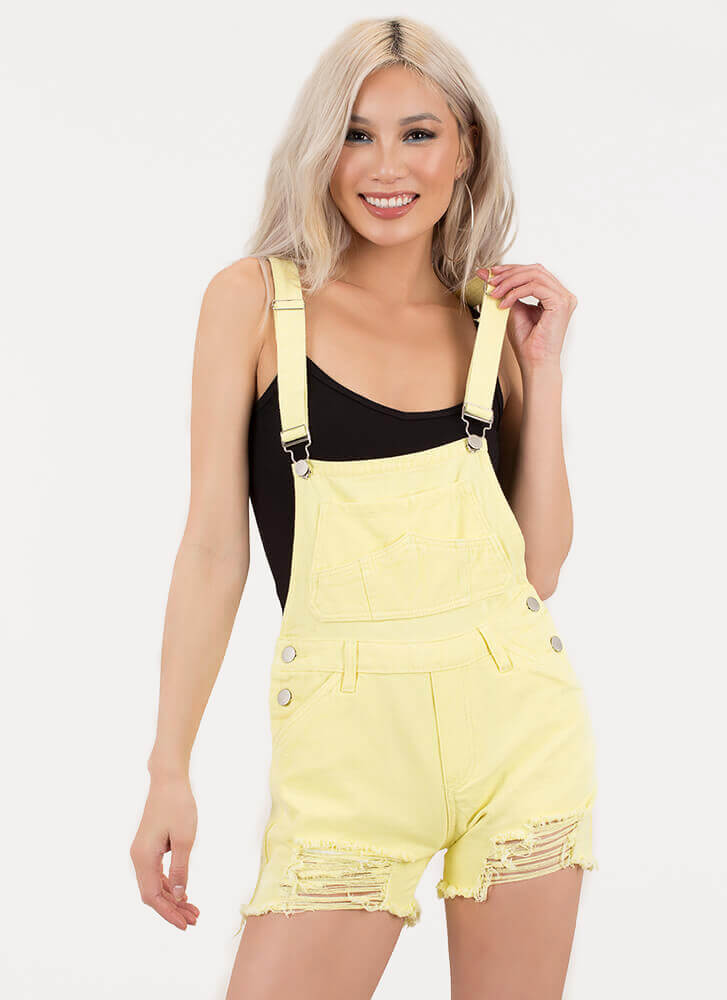 Throwback Distressed Denim Shortalls YELLOW