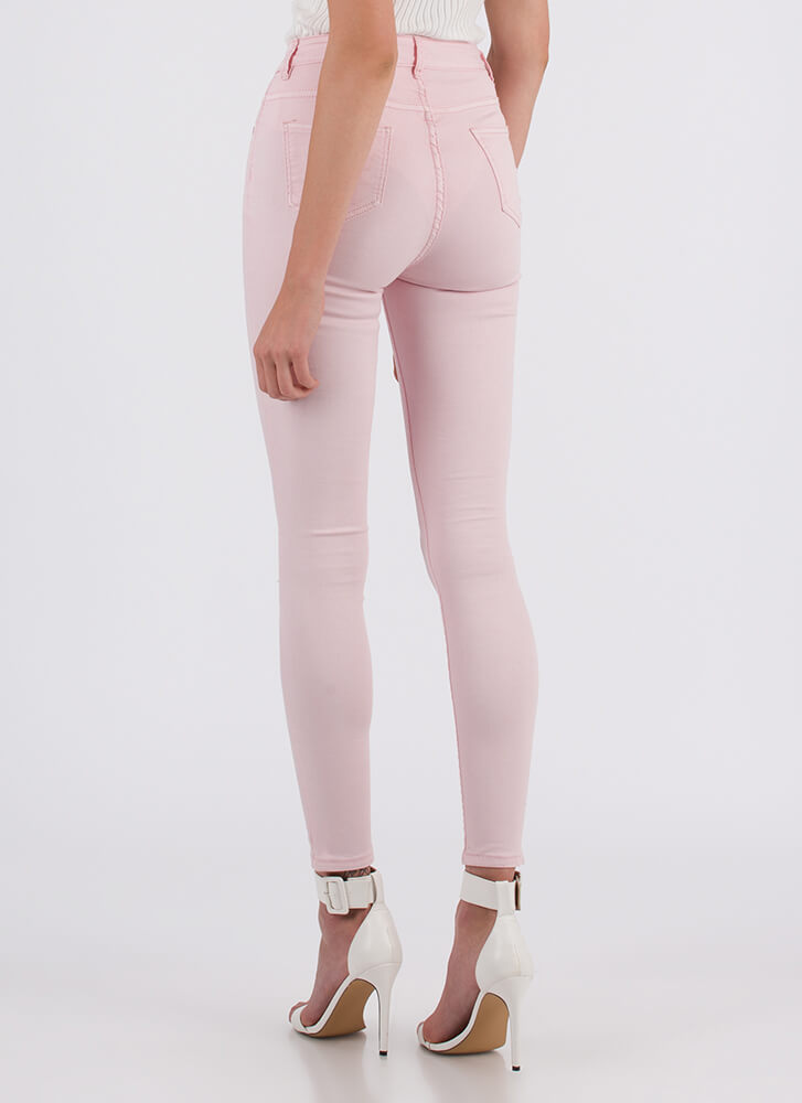 Number One High-Waisted Jeggings PINK