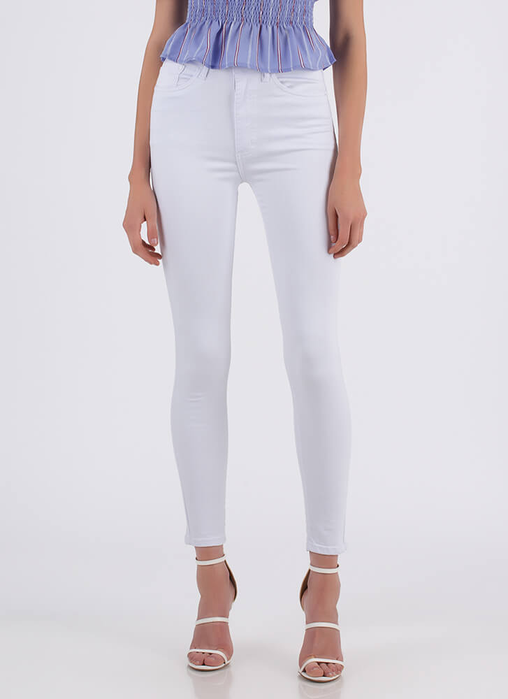 Number One High-Waisted Jeggings WHITE