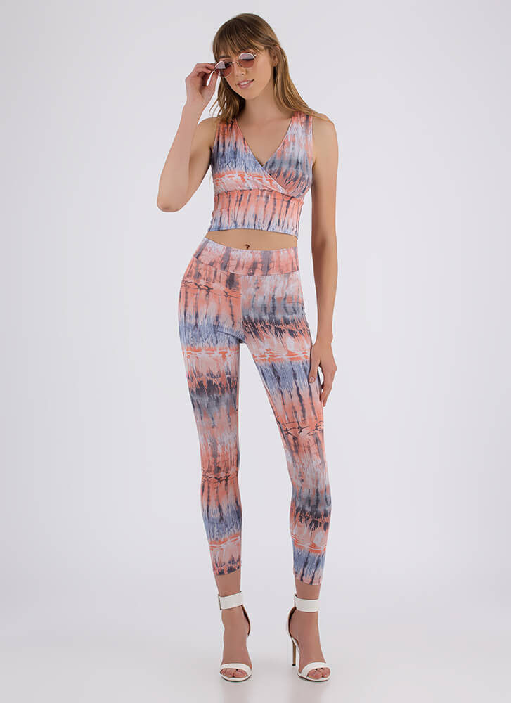 New Ink Tie-Dye Top And Legging Set PEACH