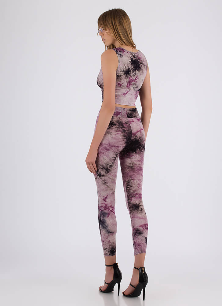 New Ink Tie-Dye Top And Legging Set PURPLE
