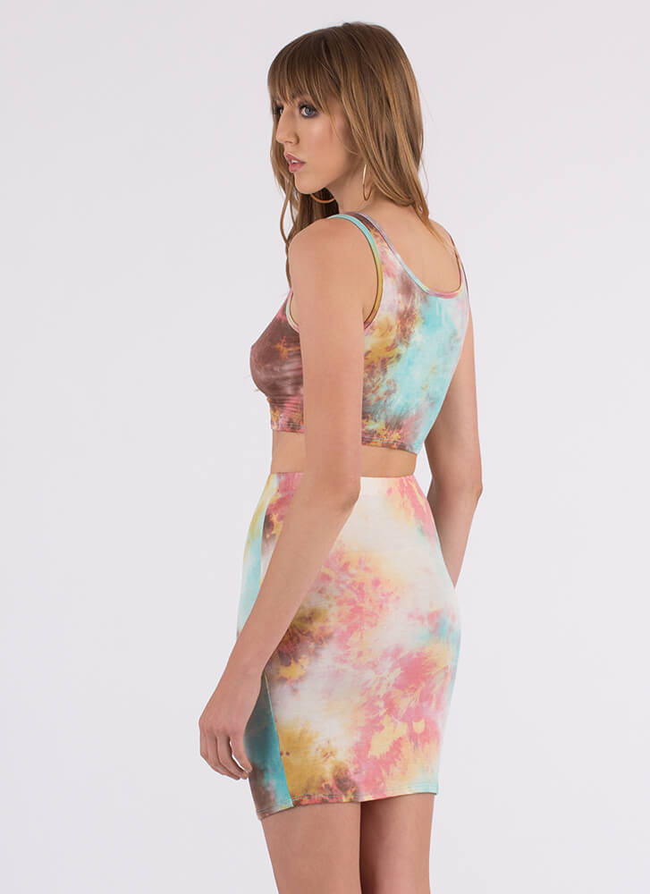 The Tie-Dye Is Cast Top And Skirt Set MULTI