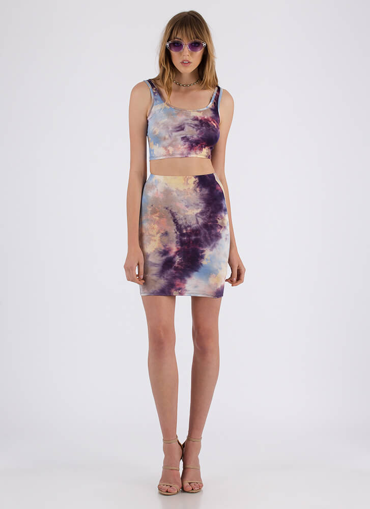 The Tie-Dye Is Cast Top And Skirt Set PURPLE