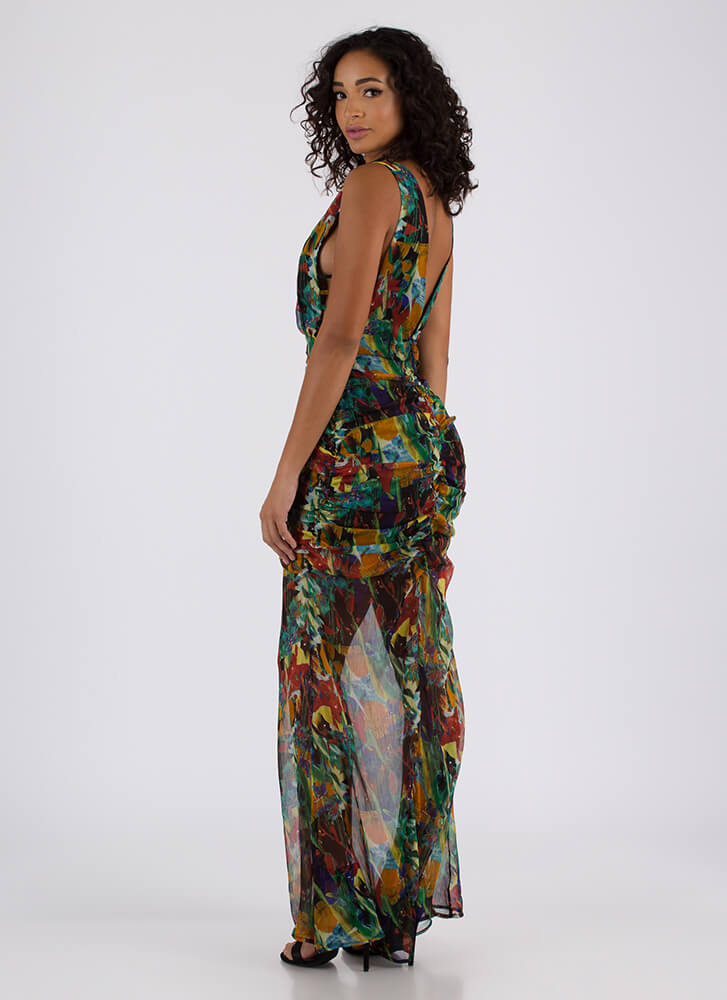 Sheer Masterpiece Strappy Ruched Maxi GREENMULTI