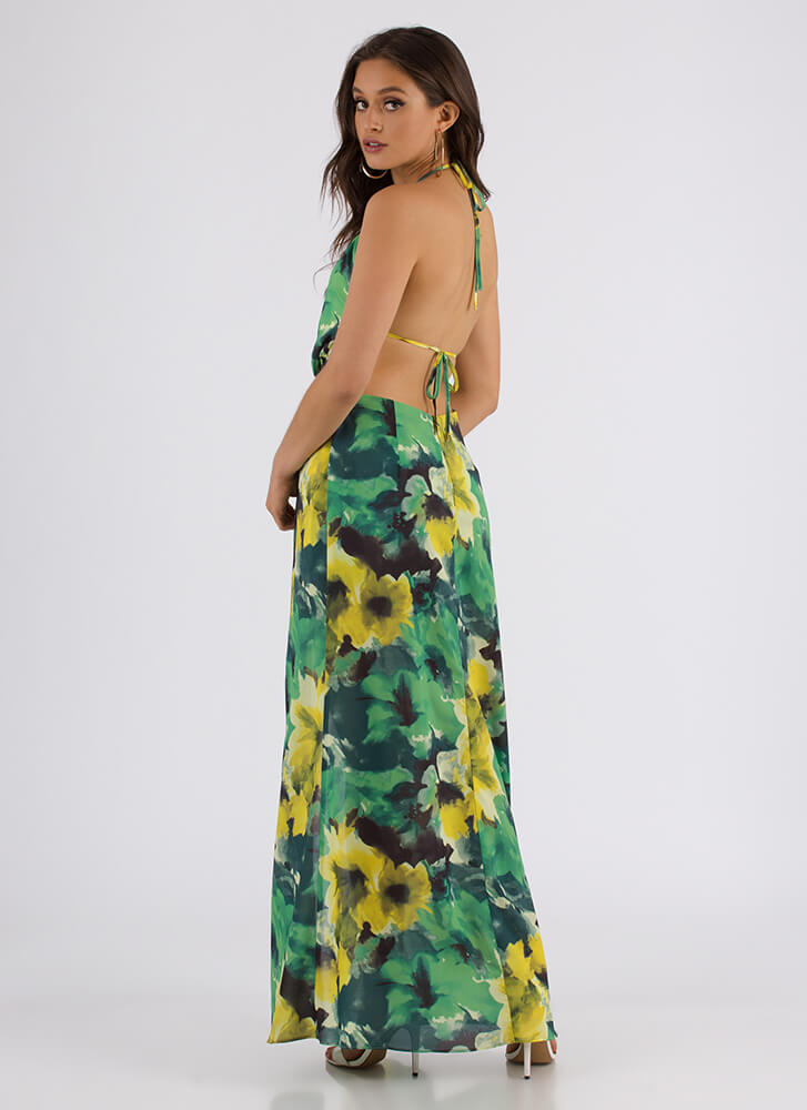 Watercolor Artist Cut-Out Floral Maxi LIME
