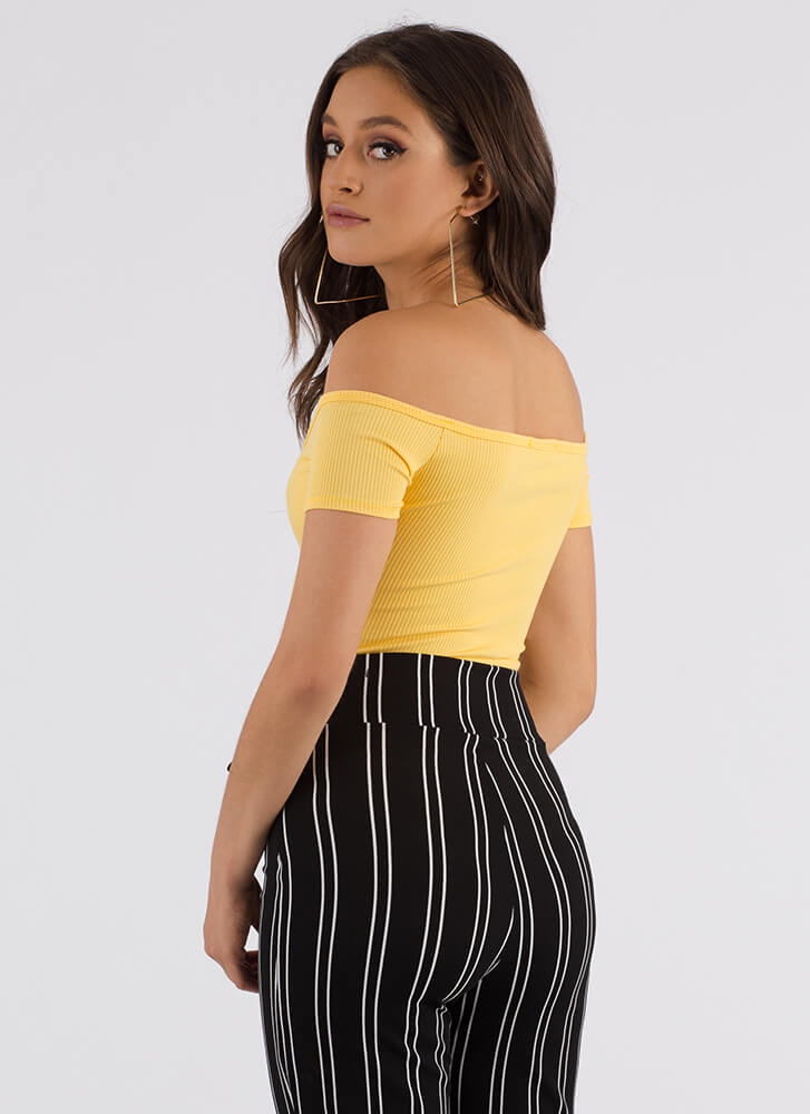 Hot Button Off-Shoulder Thong Bodysuit YELLOW