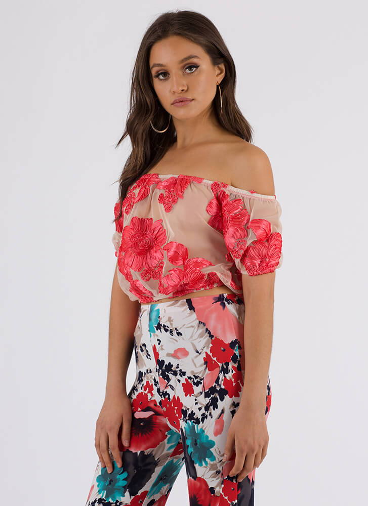 Flowers In Bloom Sheer Off-Shoulder Top CORAL