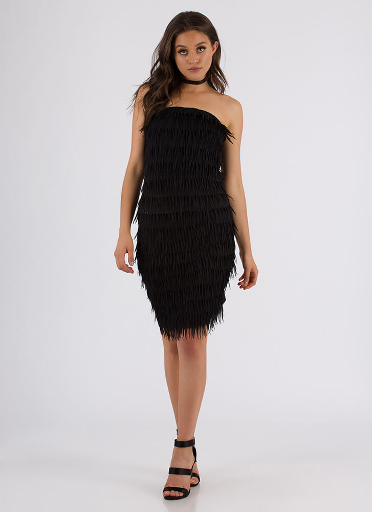 Make New Fringe Strapless Midi Dress BLACK