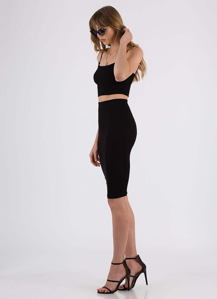 Simply Stunning Crop Top And Skirt Set BLACK
