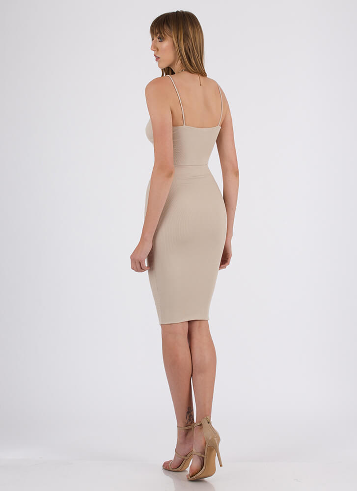 Simply Stunning Crop Top And Skirt Set TAUPE
