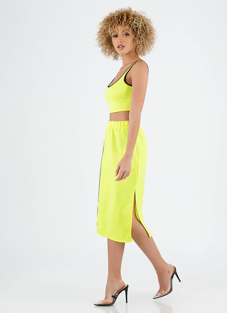 Sporty Luxe Striped Top And Skirt Set NEONYELLOW