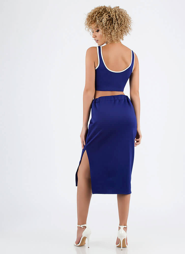 Sporty Luxe Striped Top And Skirt Set ROYAL