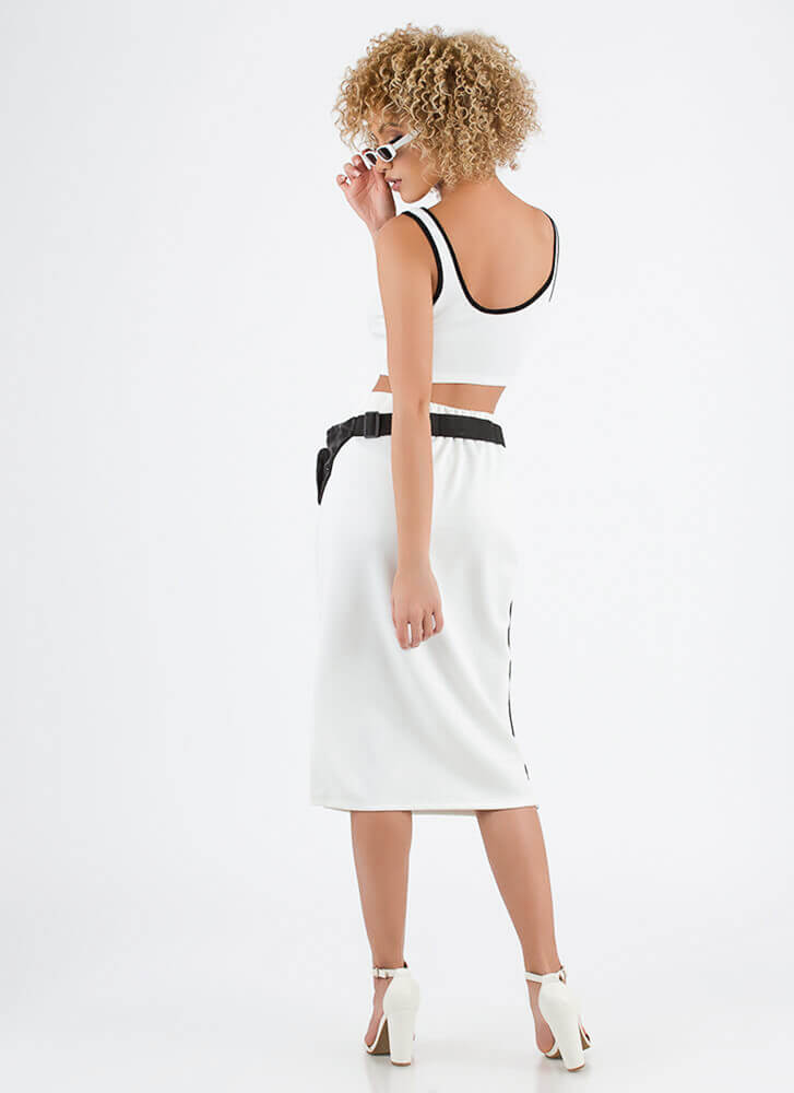 Sporty Luxe Striped Top And Skirt Set WHITE