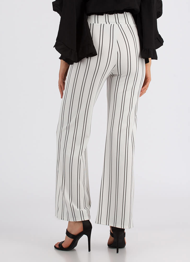 Keeping In Line Tied Pinstriped Pants IVORY