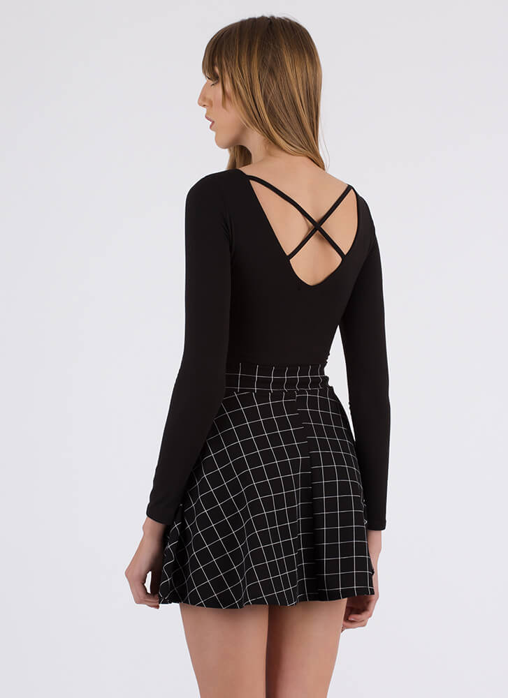 Grid Day To You Tied Skater Skirt BLACK