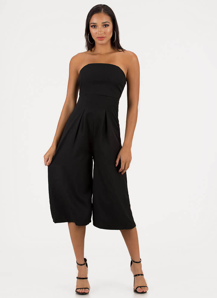 Crop The Subject Strapless Jumpsuit BLACK