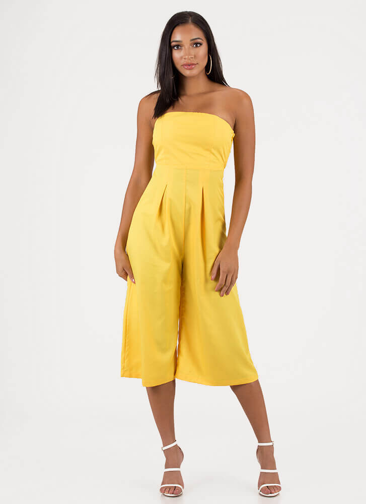 Crop The Subject Strapless Jumpsuit YELLOW