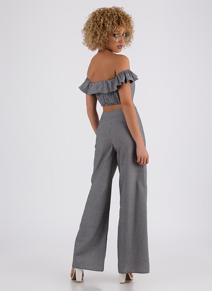 Match Point Ruffled Top And Pant Set GREY