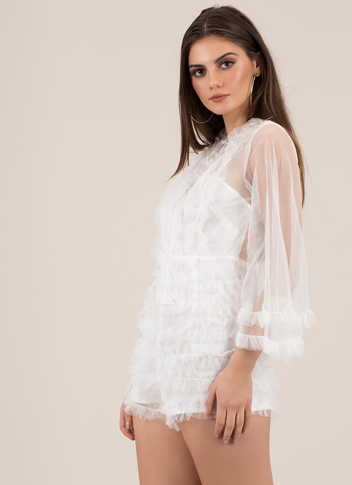 Feel All The Frills Ruffled Mesh Romper WHITE