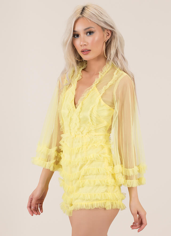 Feel All The Frills Ruffled Mesh Romper YELLOW