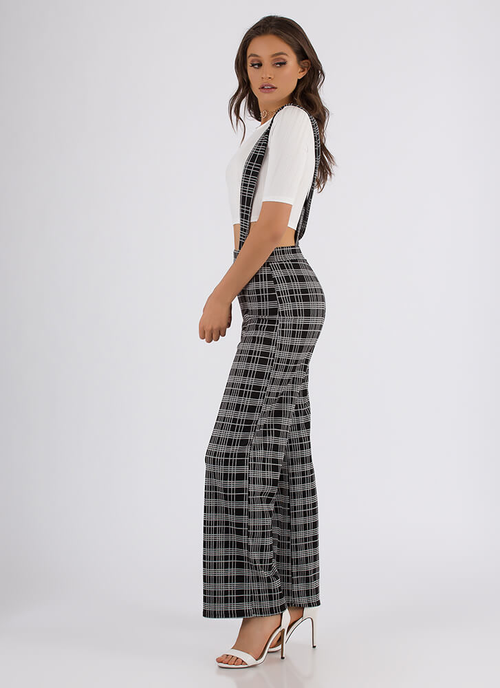 You're Suspendered Plaid Two-Piece Set BLACK