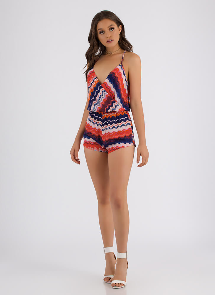 New Direction Zigzag Striped Romper BLUE