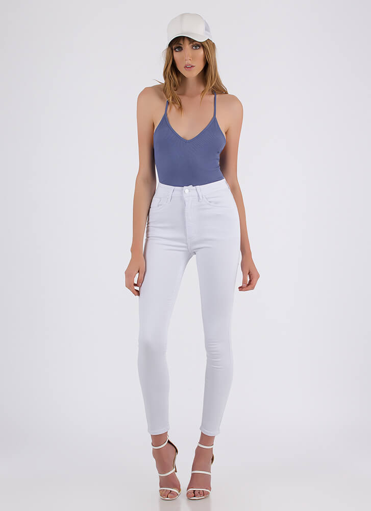 Put A Ring On It Strappy Back Bodysuit BLUE