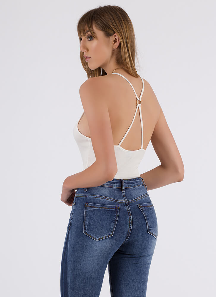 Put A Ring On It Strappy Back Bodysuit WHITE