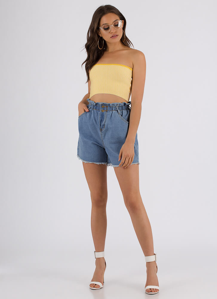 New Lineup Striped Cropped Tube Top YELLOW