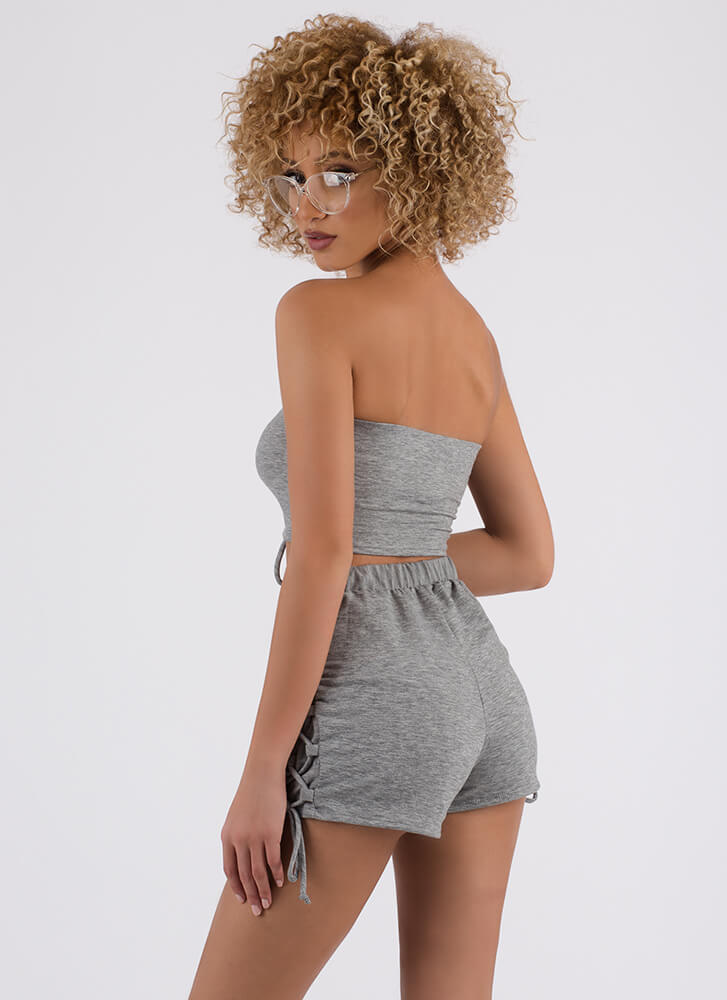 Tied Up Lace-Up Tube Top And Shorts Set HGREY