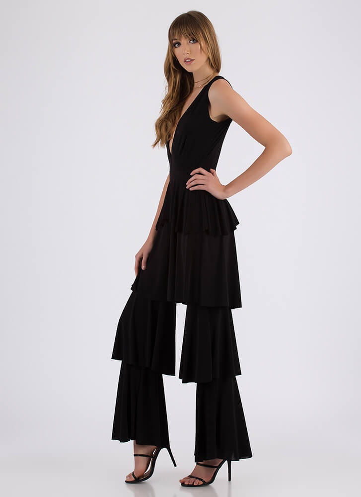 First Tier Plunging Ruffled Jumpsuit BLACK (Final Sale)