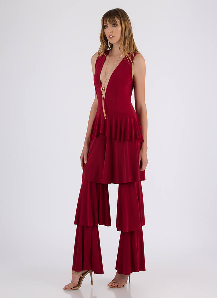 First Tier Plunging Ruffled Jumpsuit RED (Final Sale)