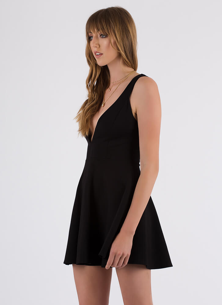 Throw A Curve Plunging Skater Dress BLACK