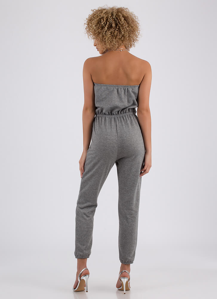 Look No More Strapless Jogger Jumpsuit GREY (Final Sale)