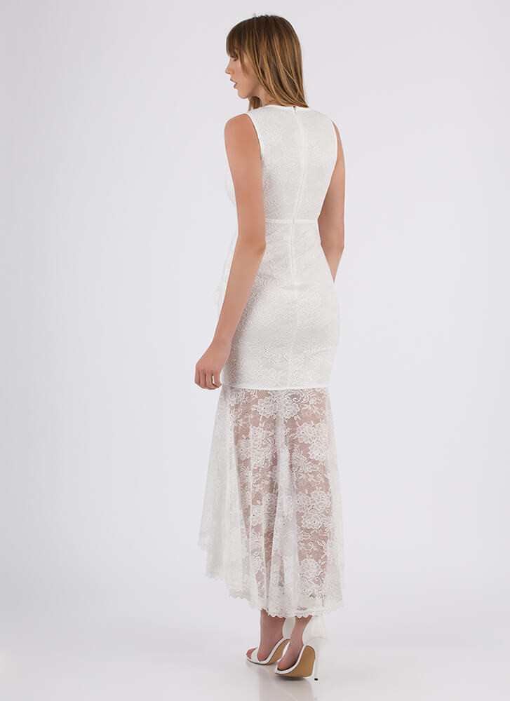 Vintage Vibes High-Low Lace Maxi Dress WHITE