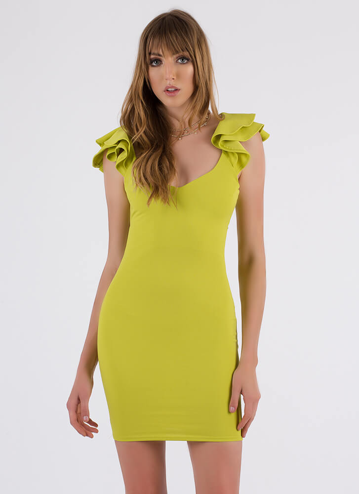 Catching Frills Ruffled Tie-Back Dress LIME (You Saved $22)