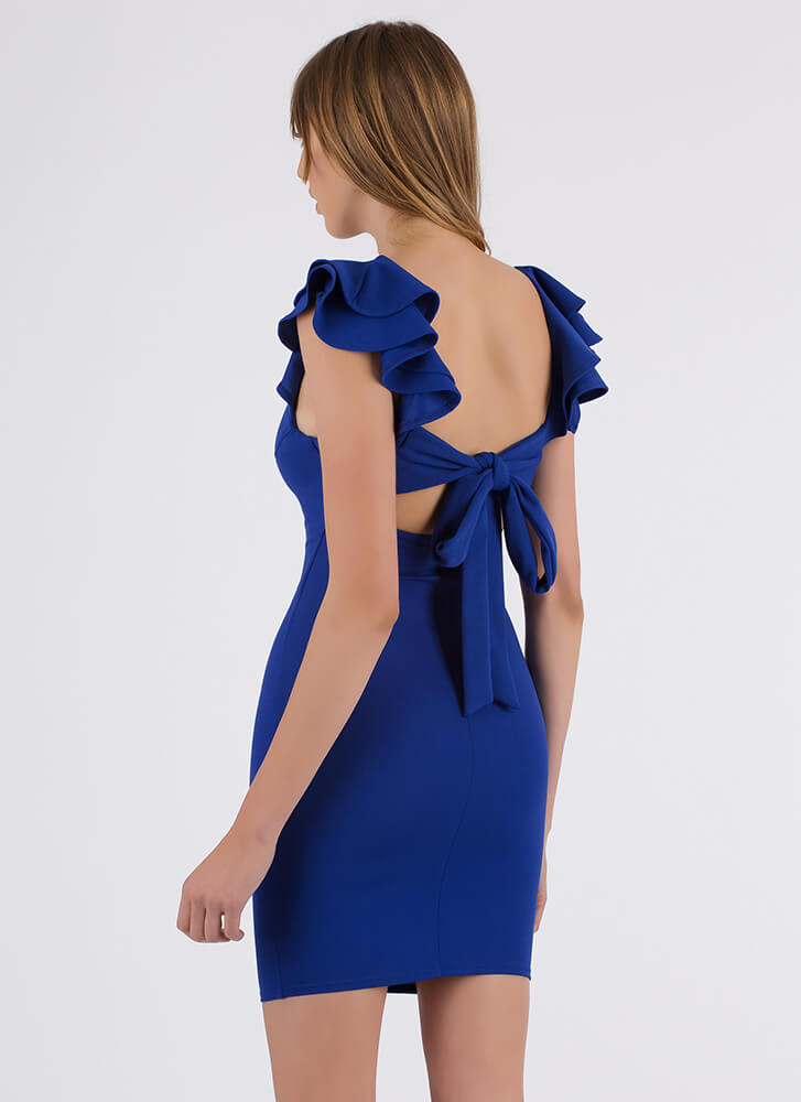 Catching Frills Ruffled Tie-Back Dress ROYAL (You Saved $22)