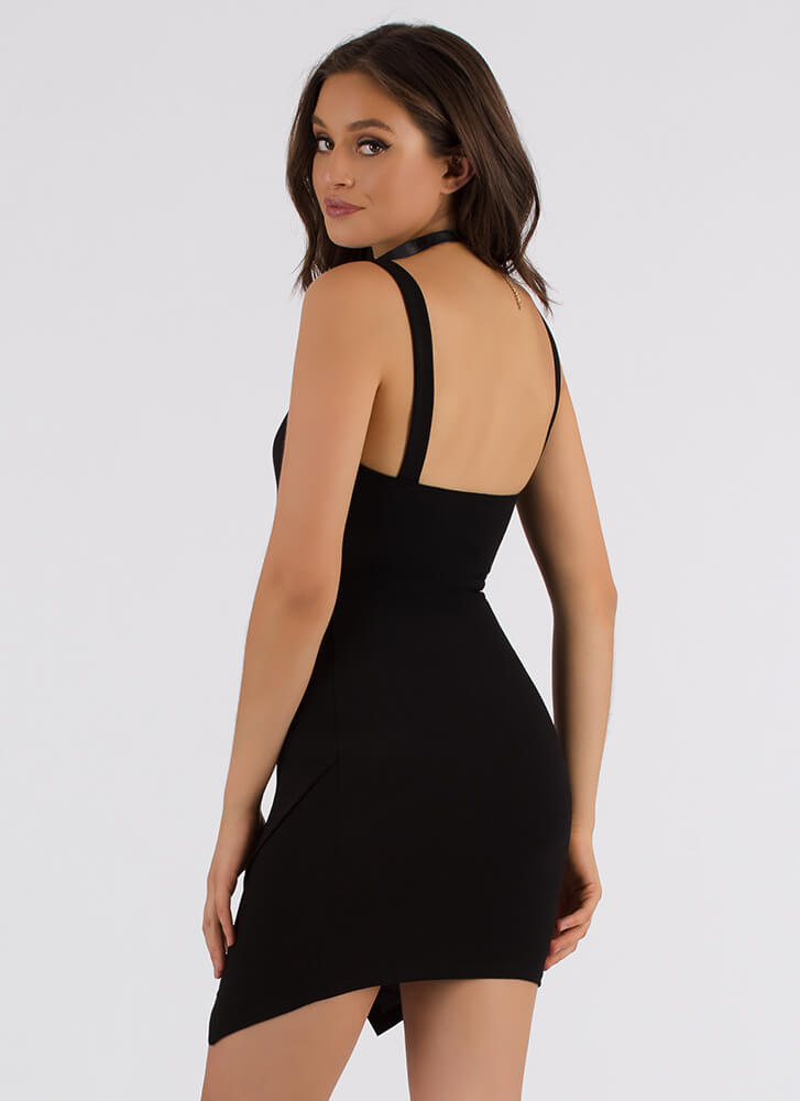 Take A Peek Zigzag Cut-Out Minidress BLACK