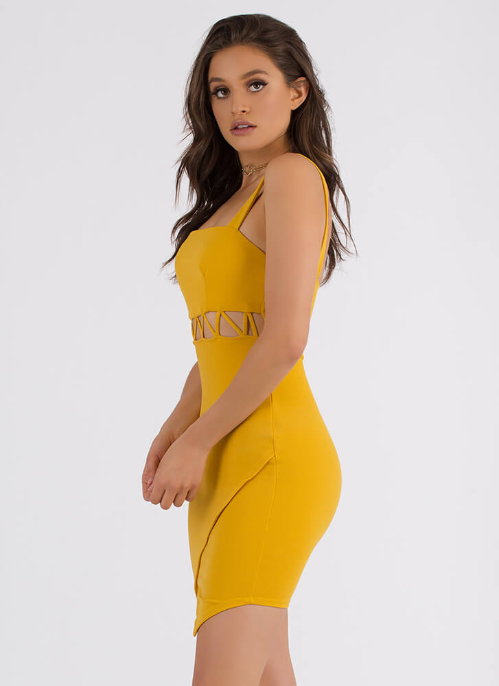 Take A Peek Zigzag Cut-Out Minidress MUSTARD