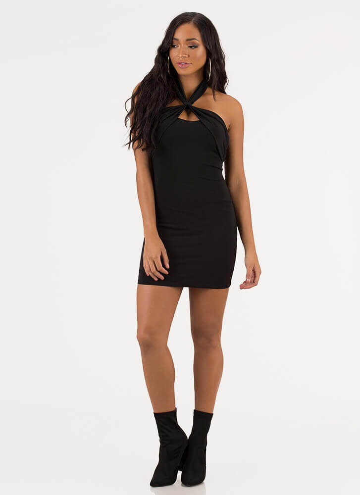 Night To Remember Halter Minidress BLACK