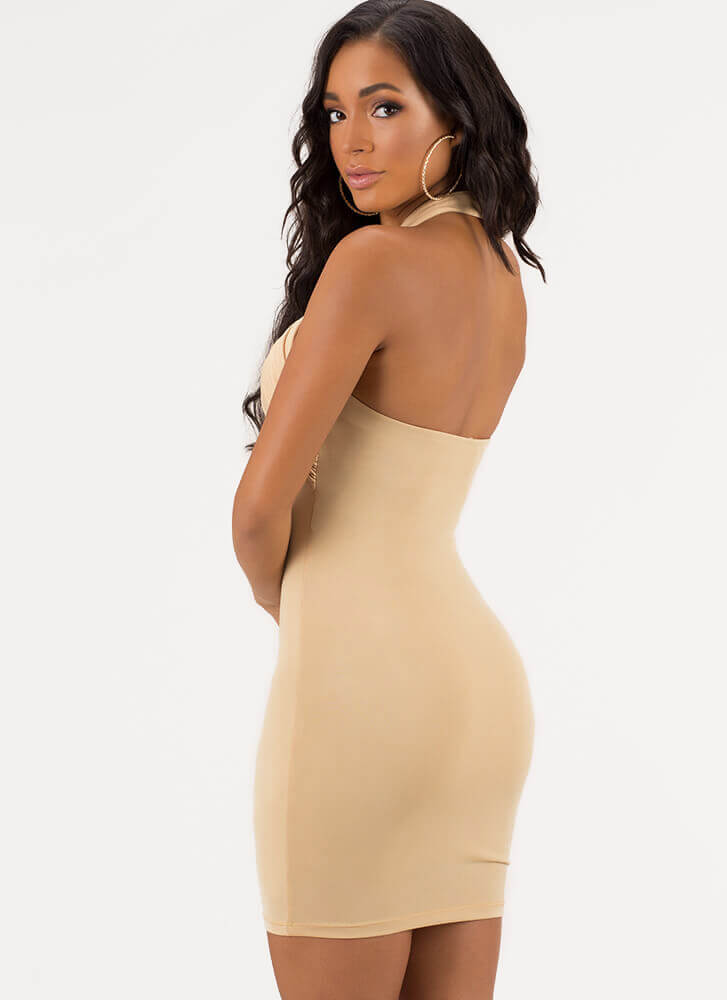 Night To Remember Halter Minidress TAUPE