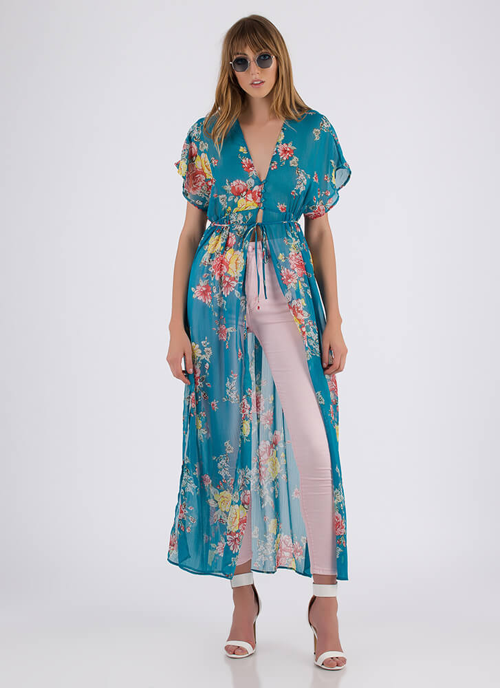 Long Time Sheer Floral Maxi-Length Top TEAL