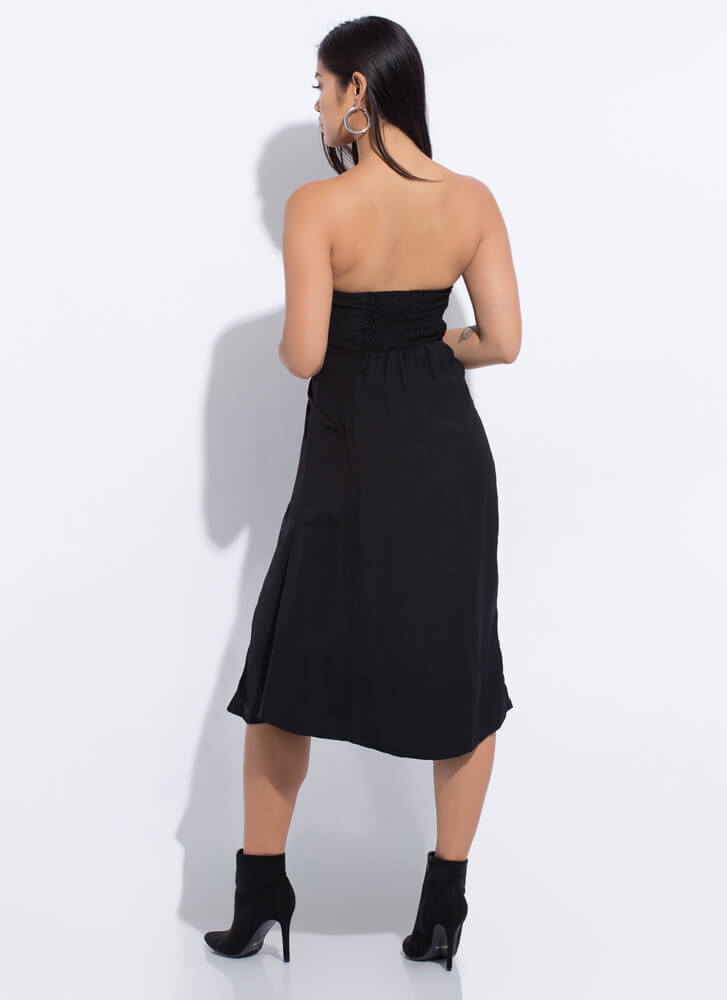 Easy Breezy Beauty Strapless Dress BLACK